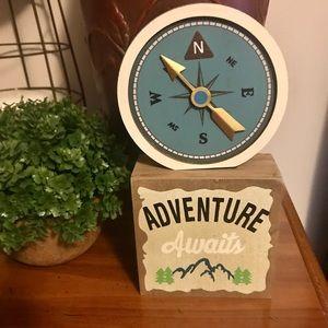 Adventure awaits wooden sign compass decor Cute!